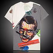 Camiseta De los hombresCasual / Trabajo / DeporteManga Corta-Negro / Blanco