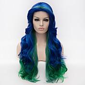 Pelo sintético pelucas Sin Tapa Peluca de carnaval Peluca de Halloween Pelucas sin tapa Muy largo Azul