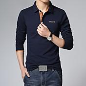 男性用 長袖 ポロシャツ , コットン/ポリエステル カジュアル/プラスサイズ プリント