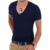 Camiseta De los hombres Un Color-Casual / Trabajo / Formal / Deporte / Tallas Grandes-Mezcla de Algodón-Manga Corta-Negro / Azul / Blanco