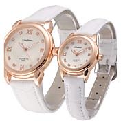 Hombre / Mujer / Pareja Reloj de Pulsera Gran venta Piel Banda Encanto / Moda / Reloj de Vestir Negro / Blanco / Marrón