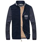 男性用 プレイン カジュアル / プラスサイズ ジャケット,長袖,リネン,ブルー / グレー