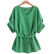 女性のvネック½長袖シャツ柔らかい快適なルーズ