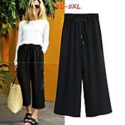 10.09 pantalones ( Poliéster )- Casual Tiro Medio Corte Ancho para Mujer