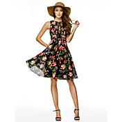 Corte en A Ajustado/Acampanado Joya Hasta la Rodilla Raso Fiesta de Cóctel Vestido con Diseño / Estampado por TS Couture®