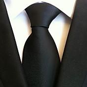 Hombre Todas las Temporadas Vintage Bonito Fiesta Trabajo Casual Poliéster Corbata,Sólido Negro