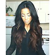 Mujer Pelucas de Cabello Natural Cabello humano Encaje Frontal 130% Densidad Suelto Peluca Negro Azabache Negro Marrón Oscuro Castaño