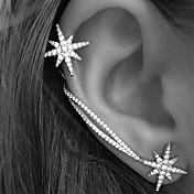 Mujer Puños del oído Pendiente Moda Personalizado Europeo joyería de disfraz Brillante Legierung Forma de Estrella Joyas Para Boda Fiesta