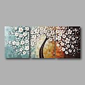 手描きの 抽象画 花柄/植物の 水平パノラマ,Modern 3枚 ハング塗装油絵 For ホームデコレーション