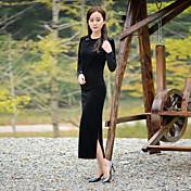 Mujer Corte Bodycon Vestido Casual/Diario Simple,Un Color Escote Redondo Maxi Manga Larga Azul Negro Poliéster Otoño Invierno Tiro Medio