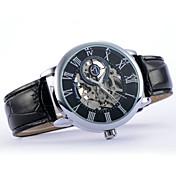 Hombre Reloj de Pulsera Cuerda Automática Piel Banda Negro Marrón Negro Marrón Blanco/Negro Oro-Negro