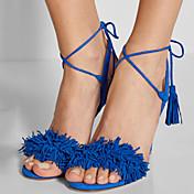 Mujer Zapatos Vellón Verano Otoño Tacón Stiletto Borla Para Vestido Fiesta y Noche Negro Morado Rojo Azul