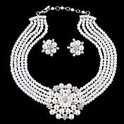 女性用 ジュエリーセット 真珠 ラインストーン 銀メッキ イミテーションダイヤモンド 合金 ぜいたく 結婚式 誕生石です. ファッション 欧風 結婚式 パーティー イヤリング・ピアス ネックレス コスチュームジュエリー