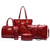 Mujer Bolsos PU Conjuntos de Bolsa Set de 6 piezas de monedero para De Compras Casual Formal Todas las Temporadas Beige Rojo Azul