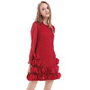 婦人向け カジュアル シース ドレス,ソリッド 膝上 ラウンドネック ポリエステル