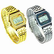 Hombre Mujer Pareja Digital Reloj de Pulsera Reloj Casual Acero Inoxidable Banda Encanto Reloj de Vestir Moda Plata Dorado