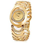 Mujer Reloj Pulsera Reloj de Moda Cuarzo Acero Inoxidable Banda Elegant Plata Dorado