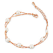 チェーン&リンクブレスレット 真珠 ユニーク ファッション ジュエリー シルバー ローズゴールド ジュエリー 1個