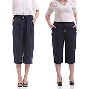 Mujer Rígido Perneras anchas Vaqueros Pantalones,Un Color Poliéster Primavera