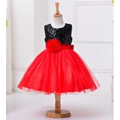 Vestido Chica de Poliéster Sin Mangas Verano De Encaje Rojo