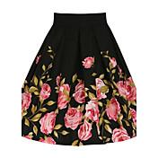 faldas ocasionales / diarias hasta la rodilla, vintage una línea floral verano floral