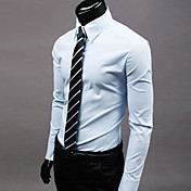 メンズ フォーマル プラスサイズ カジュアル/普段着 ワーク シャツ ソリッド ポリエステル 長袖