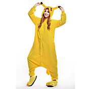 Pijama kigurumi Pika Pika Pijama Mono Pijamas Disfraz Lana Polar Amarillo Cosplay por Adulto Ropa de Noche de los Animales Dibujos