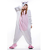 Kigurumi Pyžama New Cosplay® Kočka Leotard/Kostýmový overal Festival/Svátek Animal Sleepwear Halloween Bílá Patchwork polar fleece