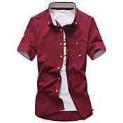Hombre Casual/Diario Trabajo Formal Camisa Un Color Manga Corta Algodón