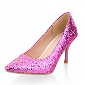 女性用 女の子 靴 レザーレット 春 夏 スティレットヒール スパンコール のために カジュアル オフィス&キャリア ドレスシューズ シルバー パープル ゴールデン