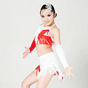 Baile Latino Accesorios Niños Representación Fibra de Leche 4 Piezas Sin mangas Top Falda Guantes