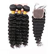 閉鎖が付いている毛横糸 ブラジリアンヘア ウェーブ 12ヶ月 4個 ヘア織り
