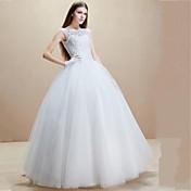 Salón Hasta el Suelo Tul Vestido de novia con Cuentas Apliques por LAN TING BRIDE®