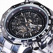 WINNER Hombre Reloj de Pulsera El reloj mecánico Cuerda Automática Huecograbado Acero Inoxidable Banda Lujo Plata