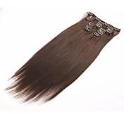clip en extensiones de cabello humano pinza de pelo brasileño en extensión 7pcs rectas / set 70g