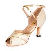Mujer Zapatos de Baile Latino / Salón Semicuero Sandalia Hebilla Tacón Carrete Personalizables Zapatos de baile Plata / Oro / Niños