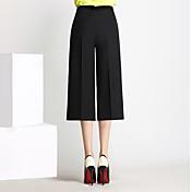 Mujer Casual Tiro Alto Microelástico Culotte Perneras anchas Pantalones,Un Color Primavera