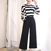 Mujer Microelástico Perneras anchas Vaqueros Pantalones,Un Color Poliéster Verano
