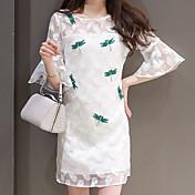 De las mujeres Recto Vestido Noche Simple,Estampado Escote Redondo Sobre la rodilla Manga Corta Blanco Poliéster Verano