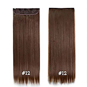 24inch 60センチメートル#12髪の拡張子で、長いストレートヘアクリップ美しい女性のための合成ヘアピース
