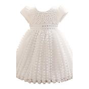 女の赤ちゃんのブルー/ピンクのドレス、ポリエステルにすべての季節の弓