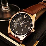 YAZOLE Hombre Cuarzo Reloj de Pulsera Reloj Casual Piel Banda Encanto Reloj de Vestir Negro Marrón
