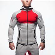 男性用 ランニングジャケット 長袖 高通気性 快適 トレーナー パーカー トップス のために エクササイズ&フィットネス レーシング ランニング コットン スリム ブラック グレー M L XL XXL
