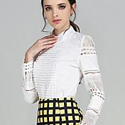 De las mujeres Tallas Grandes / Chic de Calle Casual/Diario Primavera Camisa,Cuello Camisero Un Color Manga Larga Poliéster Blanco Fino