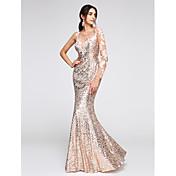 Trompeta / Sirena Hasta el Suelo Lentejuelas Baile de Promoción Evento Formal Vestido con Apliques Lentejuelas por TS Couture®