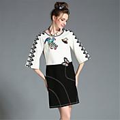vestido elegante de la fiesta de la manga 3/4 negro blanco bloque de color de alta bordado de encaje aofuli mujeres más del tamaño del otoño