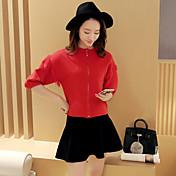 Mujer Regular Cardigan Casual/Diario Simple,Un Color Escote Redondo Nailon Invierno Medio Elástico