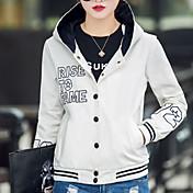 女性用 日常 お出かけ 春 秋 レギュラー ジャケット, シンプル カジュアル 活発的 ストリートファッション フード付き コットン プリント