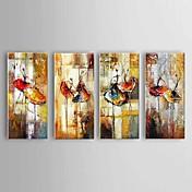 手描きの 抽象画 / 風景 / 静物画 油彩画,欧風 / Modern / クラシック / 田園 4枚 キャンバス ハング塗装油絵 For ホームデコレーション