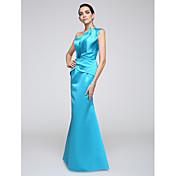 Trompeta / Sirena Un Hombro Hasta el Suelo Satén Estirado Evento Formal Vestido con Recogido Lateral por TS Couture®